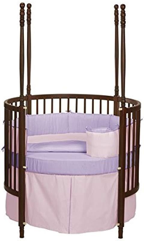 Baby Doll Bedding Solid Reversible Round Crib Bedding Set Pink Lavender