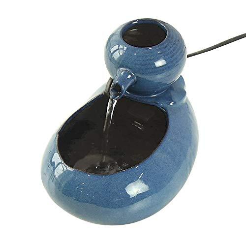 Triamisu Dispensador de Agua para Gatos Circulación automática Fuente de Agua de cerámica para Mascotas Suministros de Fuente de Agua Potable para Gatos-Azul Tipo de USB