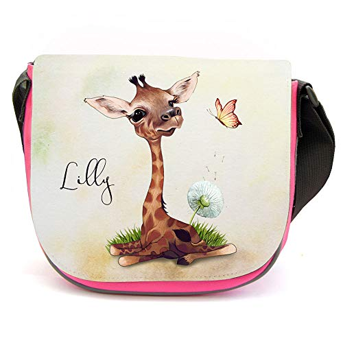 ilka parey wandtattoo-welt Kindergartentasche Giraffe mit Pusteblume rosa Kindertasche Wunschname kgt51 - ausgewählte Größe: *1. Kindergartentasche*