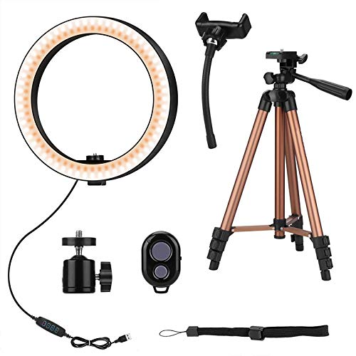 Mulibaihuo 10 Inch Selfie Ring Light with 50 Inch Tripod Stand & Phone Holder for Makeup Live Stream, LED Camera Ring Light with Remote Shu