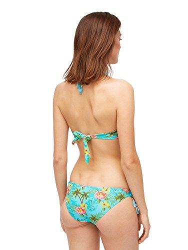 TOM TAILOR Damen Nightwear Bikini Slip mit tropischem Print Blue Curacao,34,P610,6000