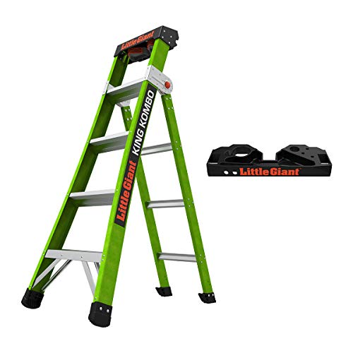Little Giant Ladders, King Kombo, Professional, 5 Ft A Frame, 8 Ft Extension, with Quad Pod, Fiberglass, Type 1AA, 375 Lbs Weight Rating, (13580-001)