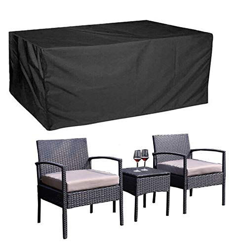 Outdoor Patio Furniture Covers 3 Piece Patio Set Covers Patio Table and Chair Set Cover for 3 Pieces Conversation Sets Universal Rectangular Water-Resistant Wind-Proof Dust 63×26×32inch (Black)