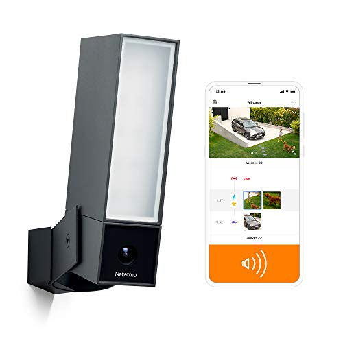 Netatmo Cámara de Vigilancia WIFI Exterior Inteligente con Sirena 105 dB, Foco integrado, Detección de Movimientos, Visión Nocturna, Sin Costo Adicional, NOC-S-IB