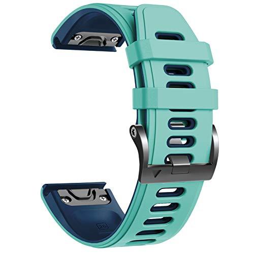 NotoCity Correa Compatible con Fenix 6X Easy Fit 26 mm Pulsera de Silicona para Fenix 6X/Fenix 6X Pro/Fenix 5X/Fenix 5X Plus/Fenix 3/Fenix 3 HR (Verde Menta)