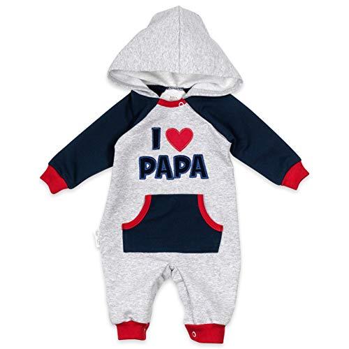 Baby Sweets Baby-Overall in Hellgrau-Navy-Rot als Baby-Kleidung für Mädchen & Jungen im I Love Papa Motiv/Baby-Strampler mit Kapuze/Erstausstattung Neugeborene & Kinder/Größe 3-6 Monate (68)