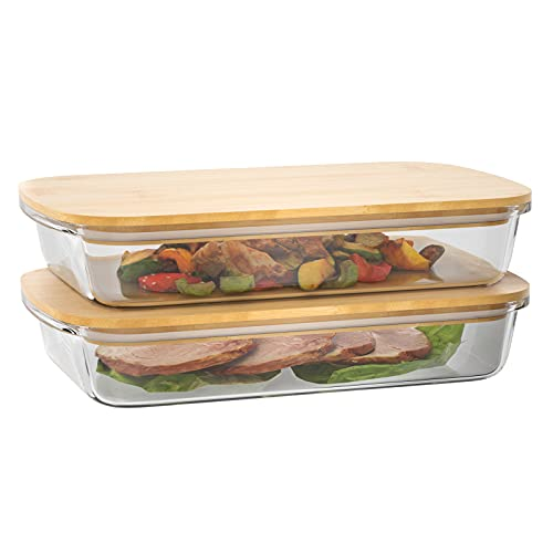 Calm Cozy Aufschnittbox Glas Aufschnittboxen mit Bambusdeckel 2er Set-Glasbehälter Glasschalen Käse Aufbewahrung mit Deckel aus nachhaltigem Bambus, ideal für Meal Prep