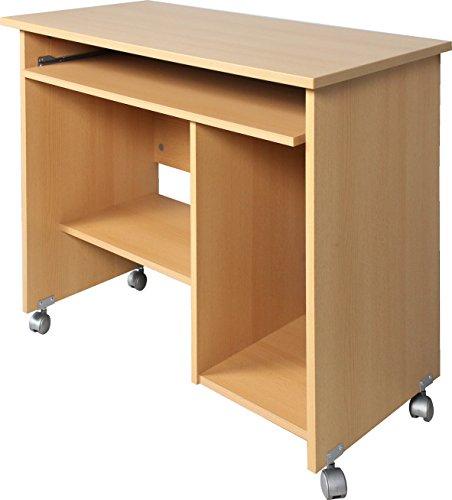 Germania 0482-11 Computertisch auf Laufrollen 0482, in Buche-Nachbildung, 90 x 72 x 48 cm (BxHxT)