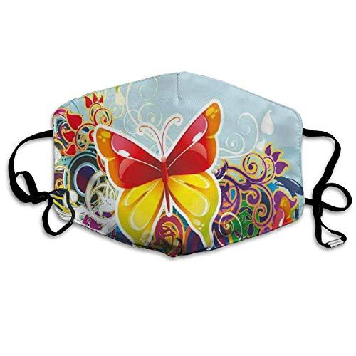 Cubierta cómoda a prueba de viento, mariposas y ornamanets diseño de fantasía coloridas alas vibrantes, decoraciones faciales impresas para niños adultos