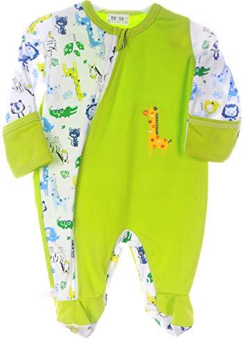 La Bortini Strampler mit Reißverschluss Schlafanug Pyjama Overall 50 56 62 68 74 80 mit Kratzschutz (56)