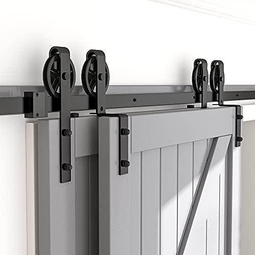 skysen 6FT Heavy Duty Sliding Barn Door Hardware Single Track Bypass Double Door Kit Black(Bypass Spoke Wheel-1)