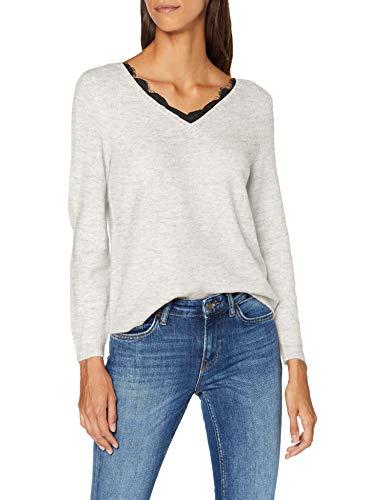 ONLY Damen ONLJULIE L/S V-Neck EX KNT Pullover, Mehrfarbig (White Detail: Black Lace), Small (Herstellergröße: S)