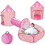 3 pcs Kids Ball Pit Tent and Tunnels,Pop up Tents for Kids Indoor Outdoor Ball Pit for Toddlers with Tunnel Baby Beach Tent Sun Shelter ,Knight Castle for Kids Playhouses with Carrying Case