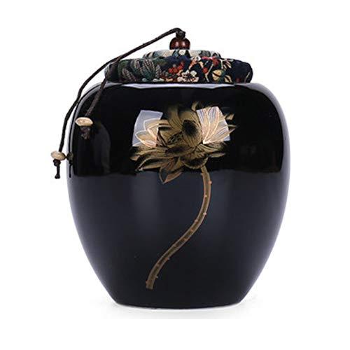 Maya Star Teedosen mit versiegeltem Deckel, Keramik, elegante Teedose, Lebensmitteldosen, Teedosen, Schwarz