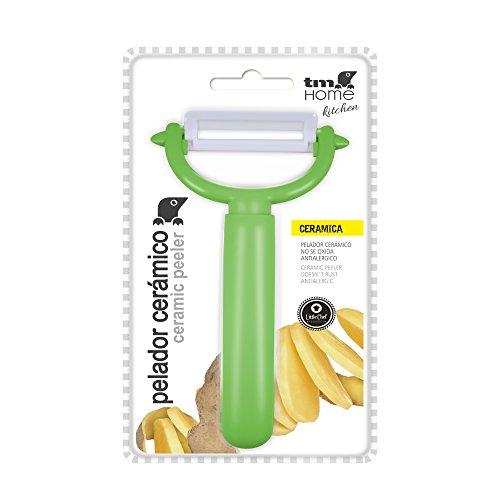 TM Electron HOKN021G Pelador de Frutas y Verduras con Cuchilla de cerámica de 20cm y Mango ergonómico de diseño Redondo, Acero Inoxidable, Verde, 8x3x13 cm