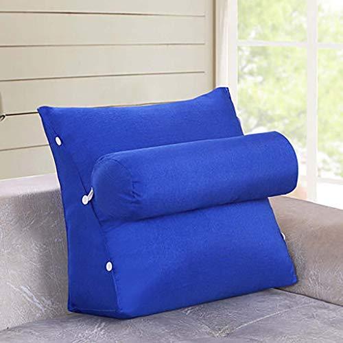 Justierbaren Dreieckige Keil Sitzkissen,für Couch Bett Stuhl Rückenlehne Kissen Leinen Gefüllt Positionierung Unterstützung Kissen Lesen Office Lumbale Pad-blau 60x22x50cm(24x20x9inch)