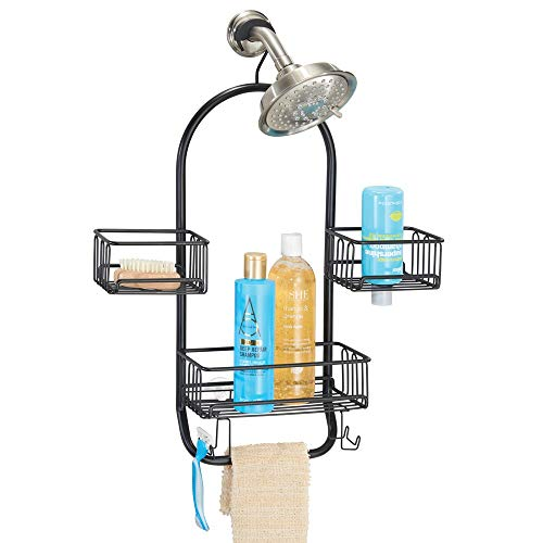 mDesign Modern Metal Wire Bathroom Tub amp Shower Caddy Hanging Storage Organizer Center  2 Wash Cloth/Razor Hooks 3 Baskets  for Bathroom Shower Stalls Bathtubs Rust Resistant Steel  Matte Black