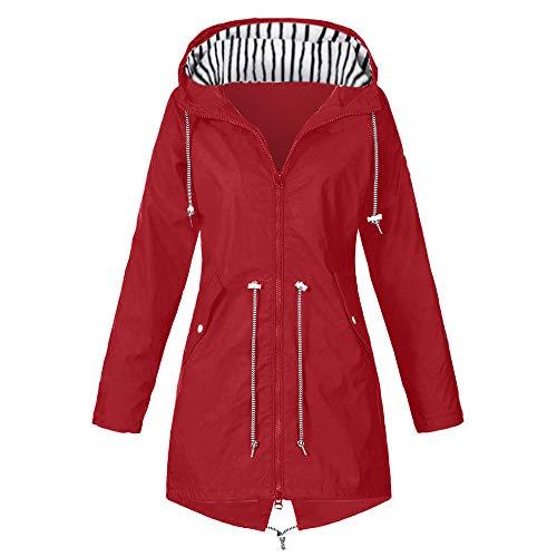 QingJiu Regenjacke mit Kapuze für Damen Outdoor-Jacken Wasserdichter Regenmantel Langer Abschnitt Winddichter Mantel