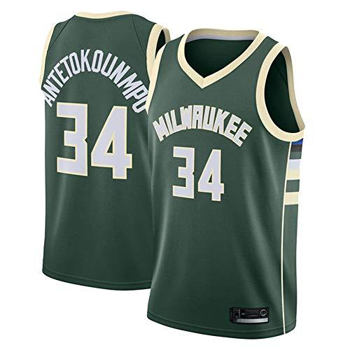 Hanbao NBA Bucks 34# Antetokounmpo Basketball Jersey Basketball-Anzug Basketballtrikot für Männer Fans Unisex Basketballtraining Sportbekleidung