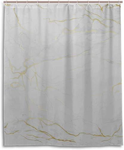balaclava Cortina de ducha con diseño de mármol blanco y azulejos de cerámica, resistente al agua, con 12 ganchos, para niños y cuarto de baño