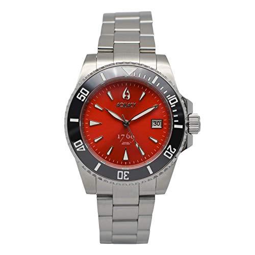 Aquacy 1769 Reloj de buceo automático para hombre, 300 m, resistente al agua, color rojo, para hombre, bisel luminoso y cristal antirreflectante de zafiro, reloj de buceo para hombre