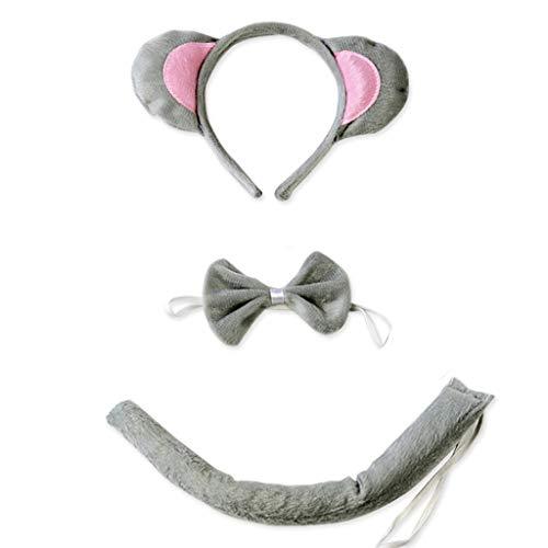 Gwxevce 3Pcs Set di Costumi per Animali per Adulti per Bambini Simpatici Orecchie da Topo Fascia Papillon Coda Lunga Halloween Compleanno Bomboniere Kit Cosplay