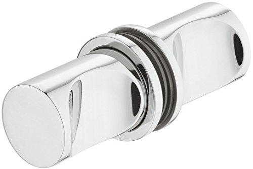 Gedotec Glastürgriff Edelstahl chrom poliert Möbel-Griff Bad-Accessoire Duschtür-Knopf rund für Duschkabinen - Modell H3035 | Badezimmer-Knauf zum Schrauben | 35 x 25 mm | 1 Paar