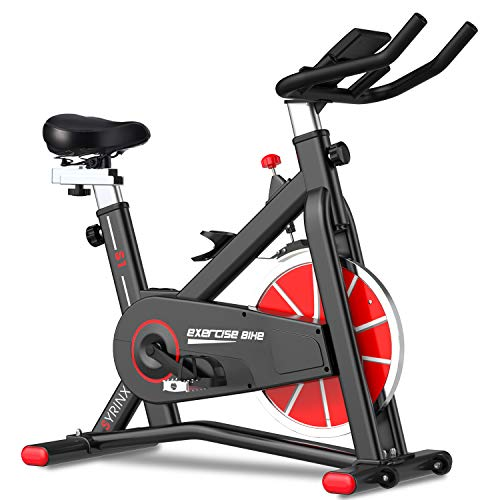 SYRINX Exercise Bike Indoor Cycling Bike Stationary Bikes Spin Bikes for Home Gym Fitness Machine Belt Drive Excersize Bicycle Cardio Workout Heavy Flywheel Digital Monitor