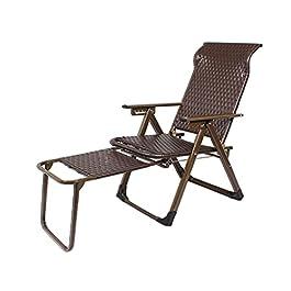 Chaise inclinable pliante, chaise longue ajustable avec repose-pieds, fauteuils de rotin en osier pour la pelouse de la…