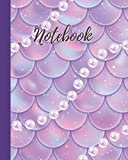 Notebook: Pink&Purple  Mermaid Scale with Pearl Pattern - College Lined Notebook & Journal - Cute Gift for Girls Teens Women (8'x10' 120 Pages)