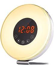 CCHKFEI Soluppgång väckarklocka, vakna upp ljus med soluppgång solnedgång simulering, 6 naturljud, FM-klockradio, 10 ljusstyrksnivåer, smart snooze-funktion och 7 färger touch nattlampor