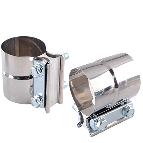 """SYKRSS 2.0"""" Lap Joint Band Clamp Exhaust Clamps Pipe Parts Stainless Steel 2Pcs"""