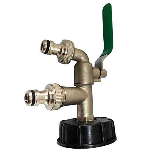 Maso Adaptateur de réservoir IBC double têtes IBC S60X6 vers robinet de jardin en laiton avec raccord de tuyau de 1,9 cm pour huile, carburant, eau