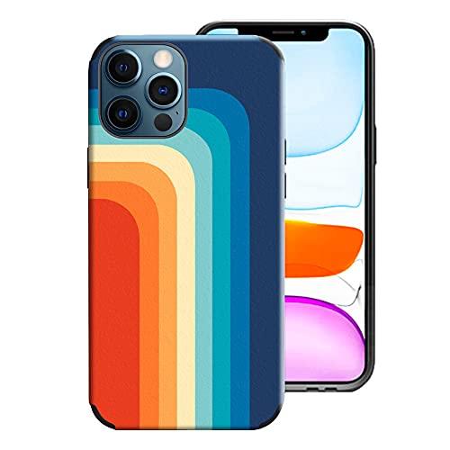 IEMY Funda para iPhone 12 / iPhone 12 Pro, Costuras de Colores del Arcoiris TPU Leather Silicona Cubierta Protectora, Carcasa de Silicona Antichoque Bumper para iPhone 12 / iPhone 12 Pro, Arco