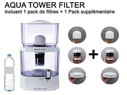 Dispensador de purificador de Agua Aqua Filter Tower con 2 Paquetes de filtros