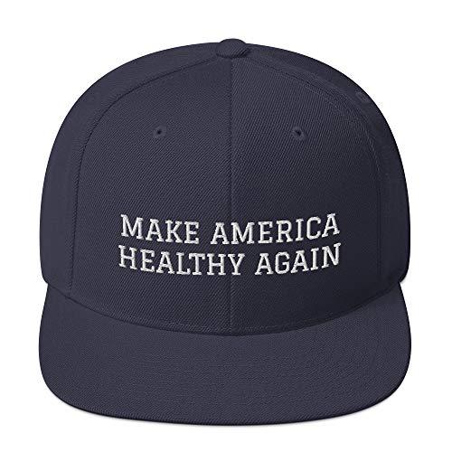 Make America Healthy Again Hat, Not Quite MAGA Meme Snapback Ball Cap Navy