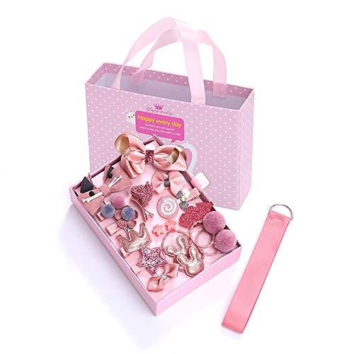 MYKOMI Juego de 18 clips para el pelo para bebé, niñas y niños pequeños, con bonitos lazos, accesorios para el pelo, cintas elásticas y caja de regalo para fiesta de cumpleaños (rosa)