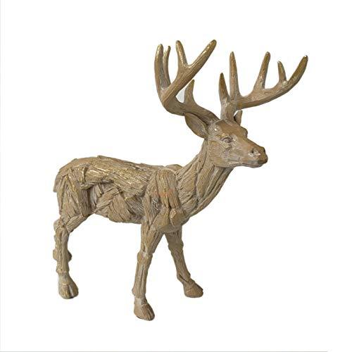 Darthome Ltd Christmas Wood Effect Resin Stag Deer Reindeer Sculpture Figurine Ornament Gift 27cm