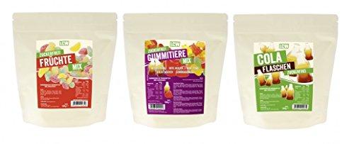 LCW - Gummitieremix - zuckerfreie Fruchtgummis Probier Set - 3 Sorten (3 x 500g)