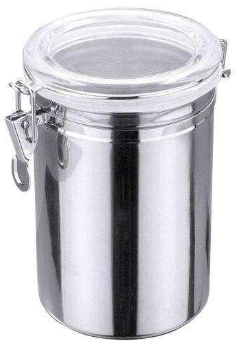Contacto Vorratsdose mit Acryldeckel, Vorratsbehälter, Aufbewahrungsbehälter, 1,25 l, aus Edelstahl, Höhe: 15,5 cm, Ø 12,5 cm