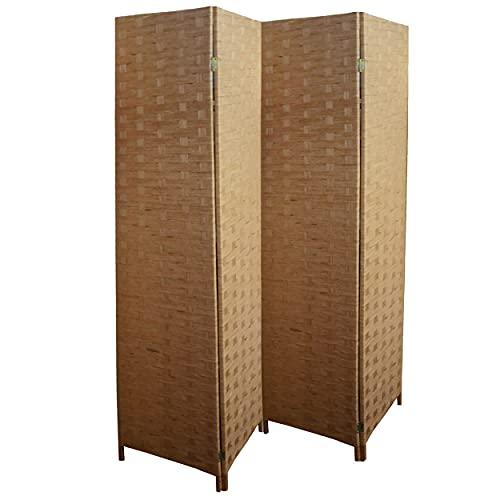 Biombo Bambú Natural, Separador de Ambientes Dormitorio/Salón 4 Paneles