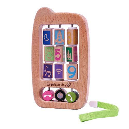 EverEarth Hochet téléphone portable pour bébé en bois hochet bébé, naturel/multicolore