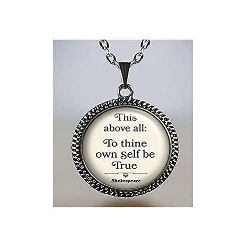 to Thine Own, Shakespeare Zitat-Halskette, Literatur-Schmuck, Zitat-Anhänger, Literatur-Schmuck