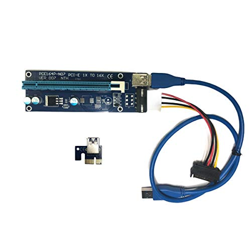 Generico Riser USB V007 MOLEX e SATA -PCI-E 1 X a 16 Cavo USB 3.0 Mining Rig GPU BTC ETHERIUM