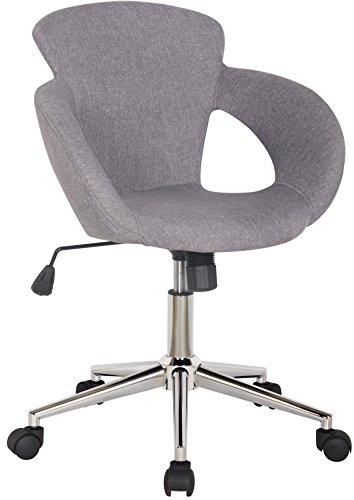 SixBros. Bürostuhl Moderner Schreibtischstuhl, Stabiler Sternfuß, Drehstuhl mit Stufenloser Höhenverstellung, Bezugsstoff Grau M-65335-1/2335
