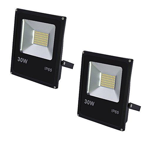 VINGO® 2x 30W LED Fluter Warmweiß Flutlicht Außen Strahler 2400lm Wasserdicht Scheinwerfer Objektbeleuchtung 3000-3200K IP65