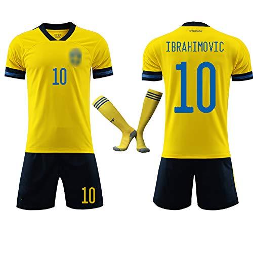 benutzerdefinierte 10# Forsberg Ibrahimovic Fußballuniform, Kinder Erwachsene Fußball T-Shirt Shorts Kit für 2020 Europapokal Schweden Fußball Trikot-Ibrahimovic-M