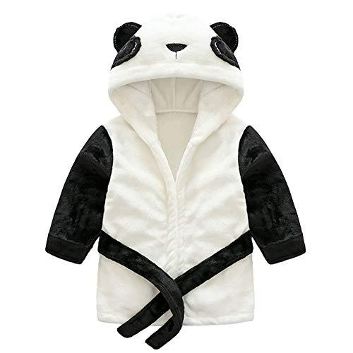 YFPICO Weiche Flanell Babybademantel Kinder Baby Handtuch Kapuze Unisex Frottee Bademantel Kleinkind für Erwachsene Geschenk, Panda, 80/86(Etikettengröße:90)