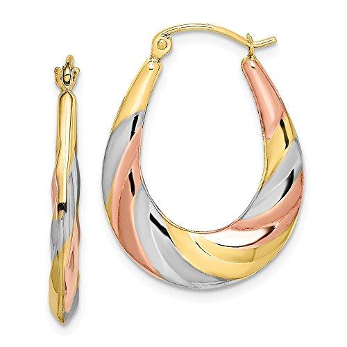 10k Yellow Gold Oval Scalloped Hoop Earrings Ear Hoops Set Fine Jewelry For Women Gifts For Her