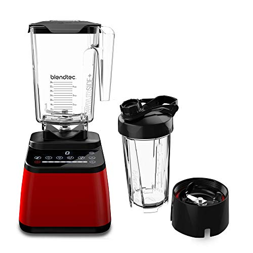 Blendtec Designer Series Blender - WildSide+ Jar (90 oz) and Blendtec GO™ Travel Bottle (34 oz) BUNDLE - Professional-Grade Power - Self-Cleaning - 6 Pre-programmed Cycles - 8-Speeds - Red